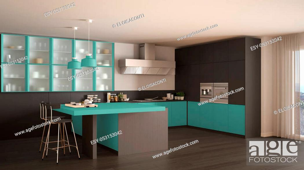 Stock Photo: Classic minimal gray and turquoise kitchen with parquet floor, modern interior design.
