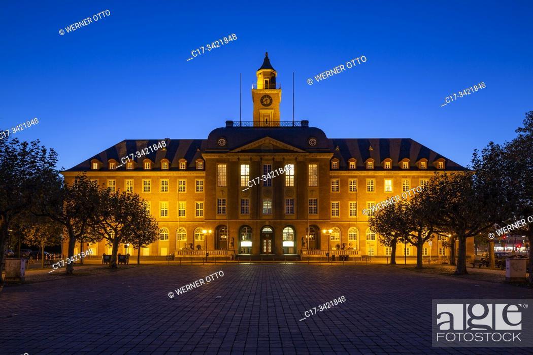 Stock Photo: Herne, D-Herne, Ruhr area, North Rhine-Westphalia, Ruhr 2010, Cultural Capital 2010, route of industrial heritage, town hall at the Friedrich Ebert Square.