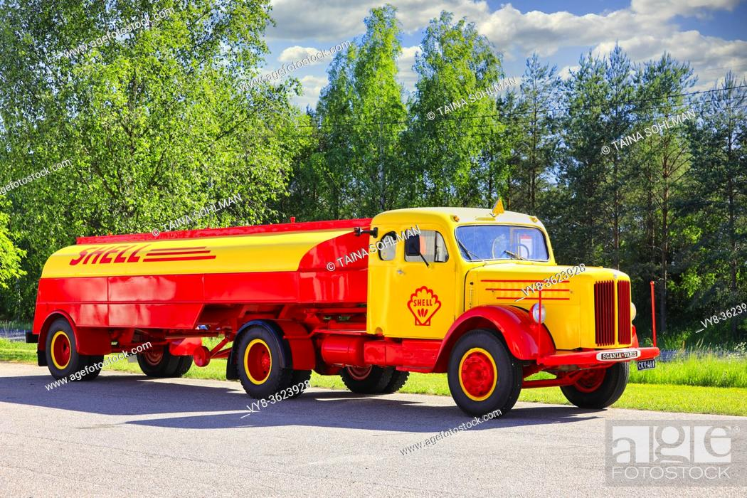 Stock Photo: Vintage Scania-Vabis Shell fuel tanker truck year 1952 parked on a yard on a sunny day of summer. Salo, Finland. June 12, 2020.