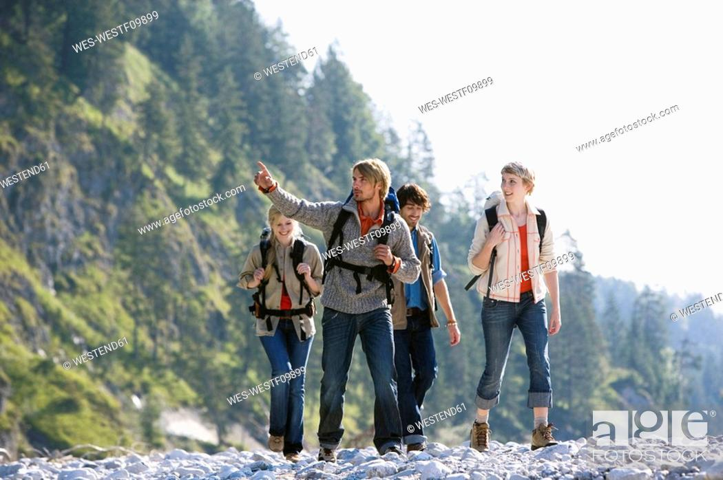 Stock Photo: Germany, Bavaria, Tölzer Land, Hikers.