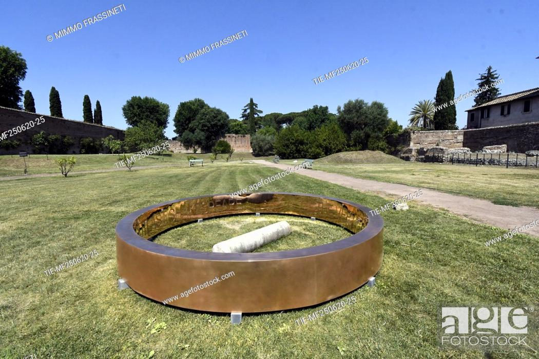 Stock Photo: The bronze sculpture 'Anello' by the artist Francesco Arena placed in the Viigna Barberini at the Palatino, Colosseum archaeological park , Rome.