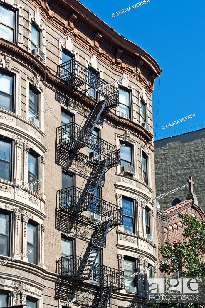 Stock Photo Apartment Buildings With Outside Fire Escape Ladder Little Italy Manhattan New York