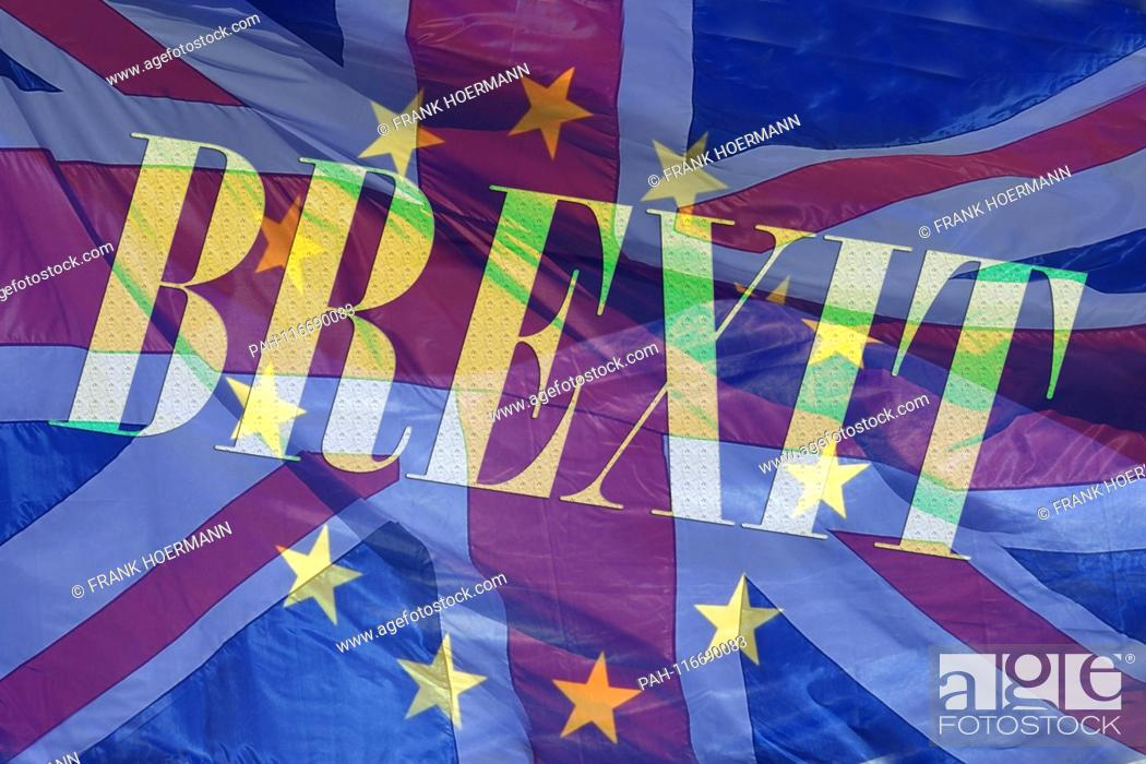 Stock Photo: PHOTO MONTAGE! Topic image, symbolic picture BREXIT - the exit of Great Britain from the EU. | usage worldwide. - Nuerburgring/Deutschland.