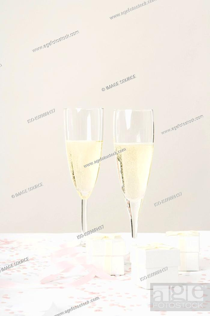 Stock Photo: Two champagne flutes.