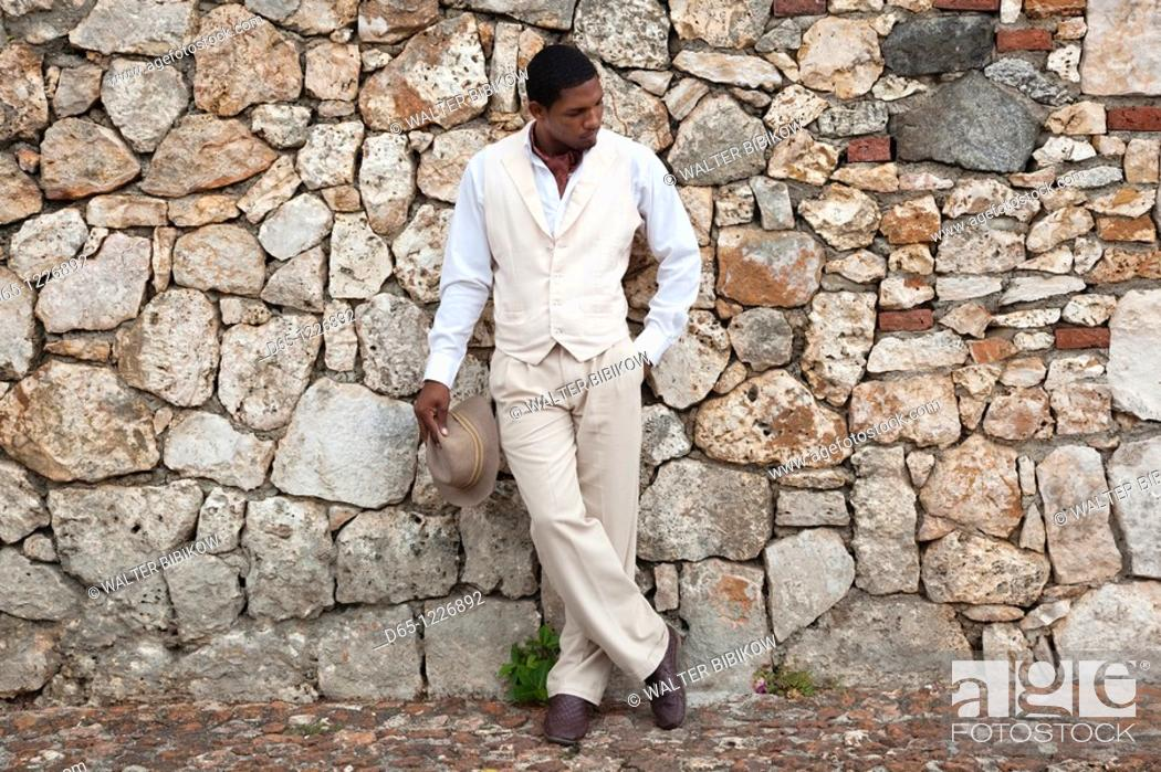 Stock Photo: Dominican Republic, La Romana, Altos de Chavon, Dominican male dancer in costume, R, MR-DRE-09-03.