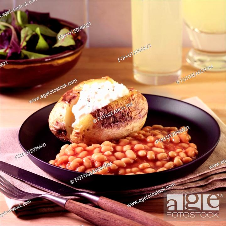 Cool Baked Potato With Cottage Cheese And Beans Stock Photo Download Free Architecture Designs Scobabritishbridgeorg