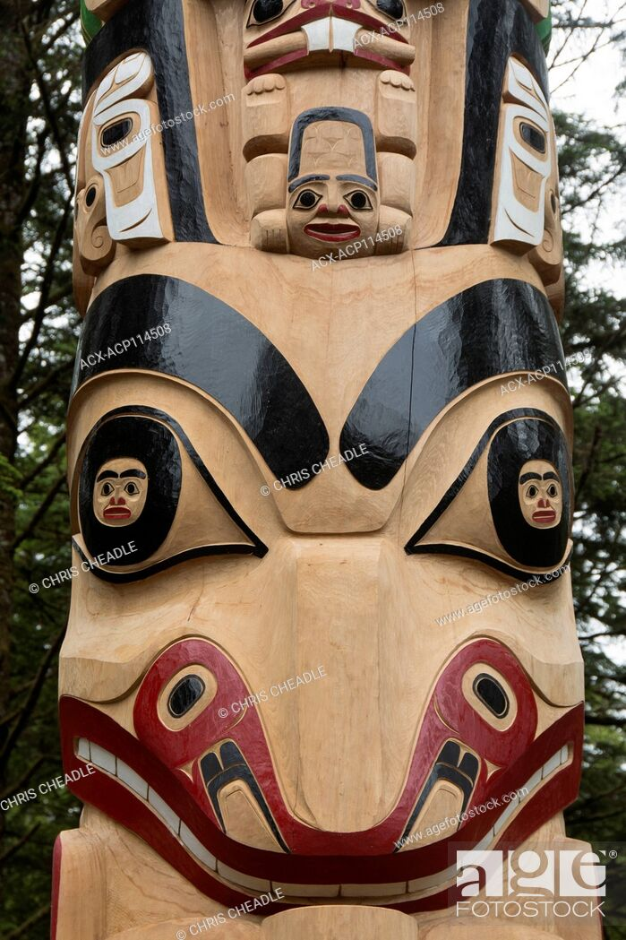 Stock Photo: New pole details, by Christian White and apprentices at Hiellen Longhouse Village, Tow Hill, Haida Gwaii, formerly known as Queen Charlotte Islands.