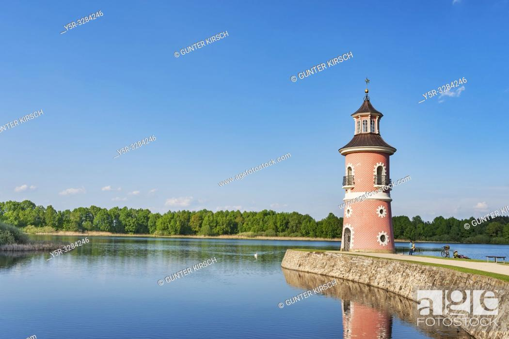 Stock Photo: The lighthouse in Moritzburg is the only inland lighthouse in Saxony. It was built in the late 18th century as part of a backdrop for trailing naval battles.
