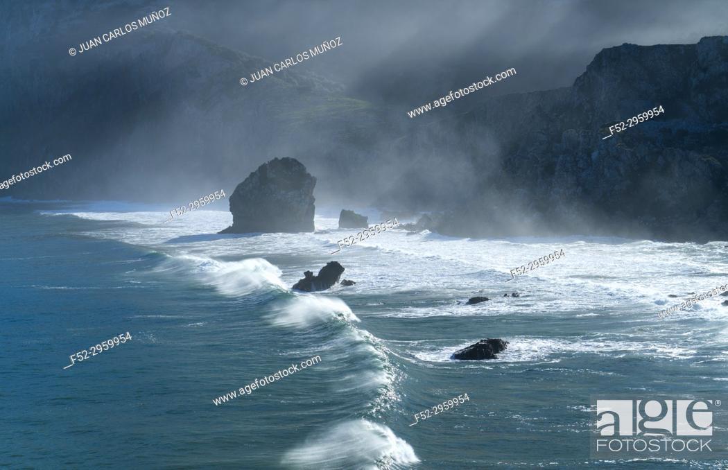 Stock Photo: San Julian beach, Liendo, Cantabrian sea, Montaña Oriental Costera, Cantabria, Spain, Europe.