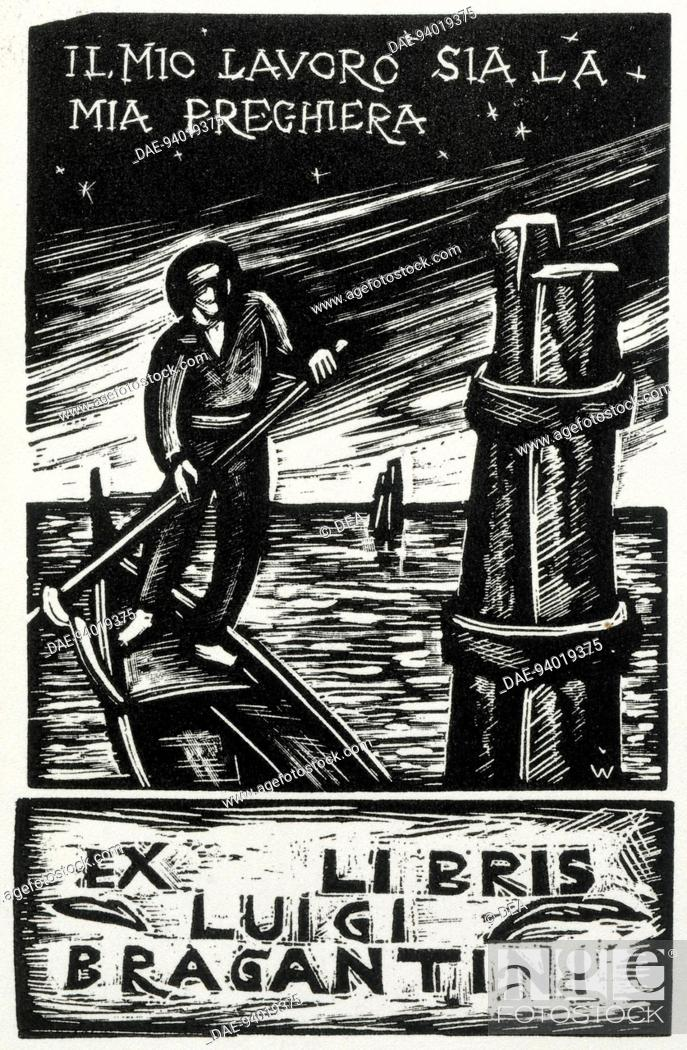 Stock Photo: Bookplate depicting a row boat, 20th Century.  Private Collection.