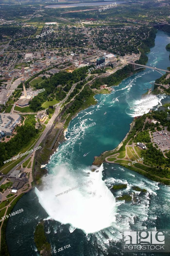Stock Photo: aerial view of helicopter flight over niagara falls area ontario canada.