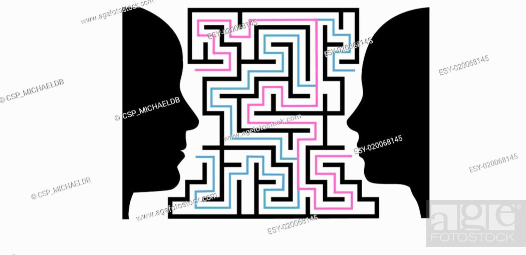 Man Woman Silhouettes Face A Puzzle Maze Stock Vector Vector And Low Budget Royalty Free Image Pic Esy 020068145 Agefotostock
