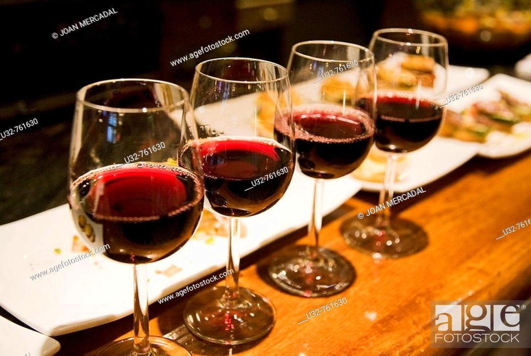Stock Photo: Four glasses of wine, Bilbao. Biscay, Basque Country, Spain.