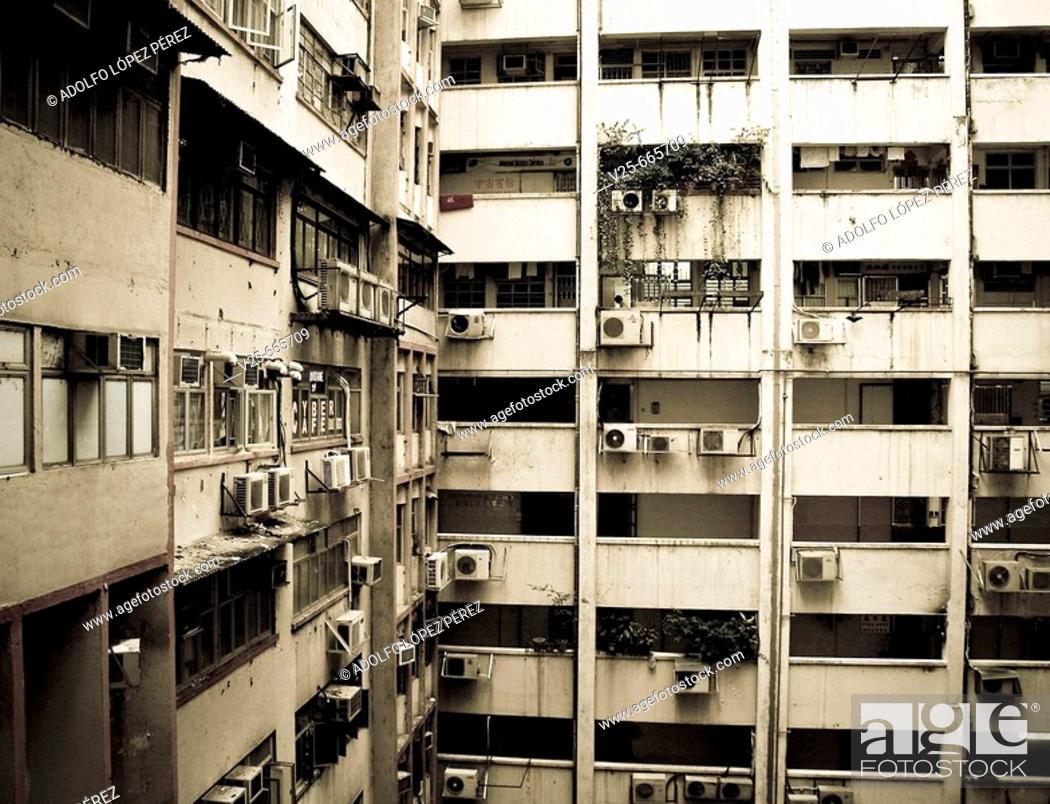 Stock Photo: Interior courtyard. Hong Kong. China.