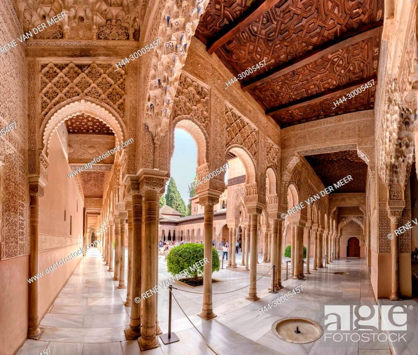 Palacios Nazaries Patio De Los Leones Alhambra Granada Spain