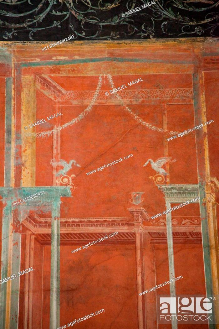 Stock Photo: Italy, Naples National Archeological Museum, from Pompeii, Isis Temple, Portico, Decoration.