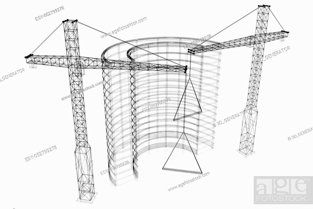 3d Construction Site Office Building Wireframe White
