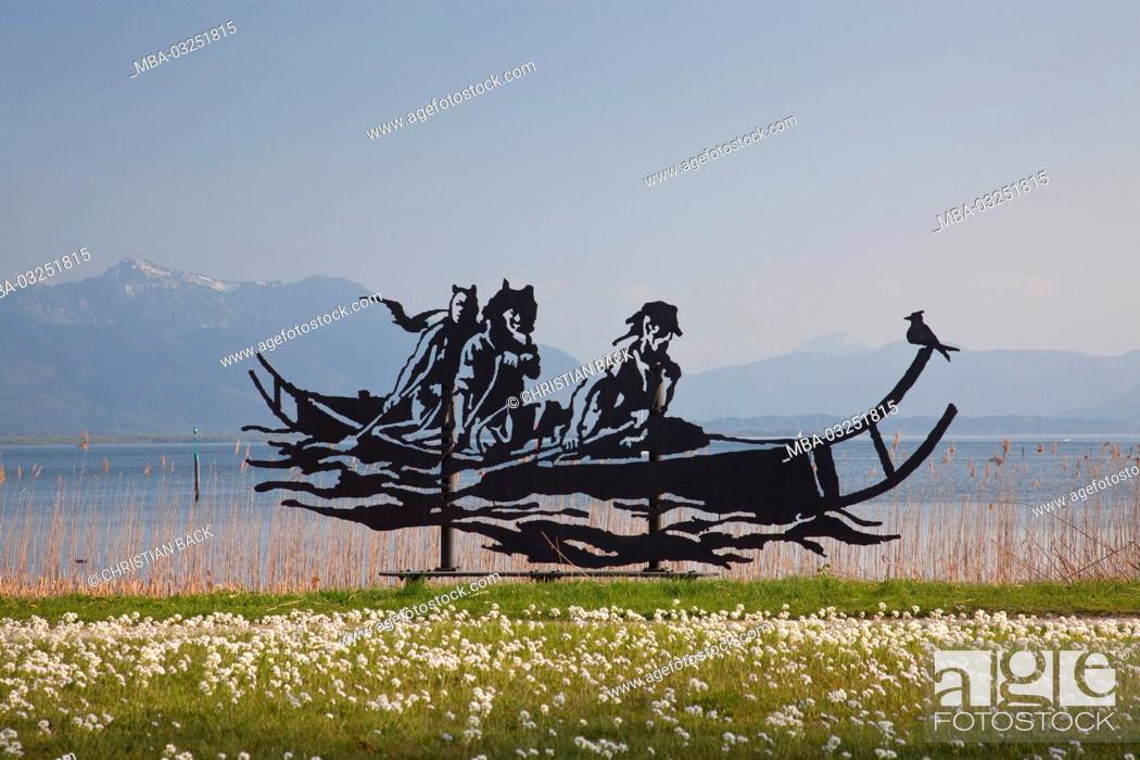 Stock Photo: Sculpture 'Celt's ship' in Seebruck in Chiemsee, Seeon-Seebruck, Chiemgau, Upper Bavaria, Bavaria, South Germany, Germany,.