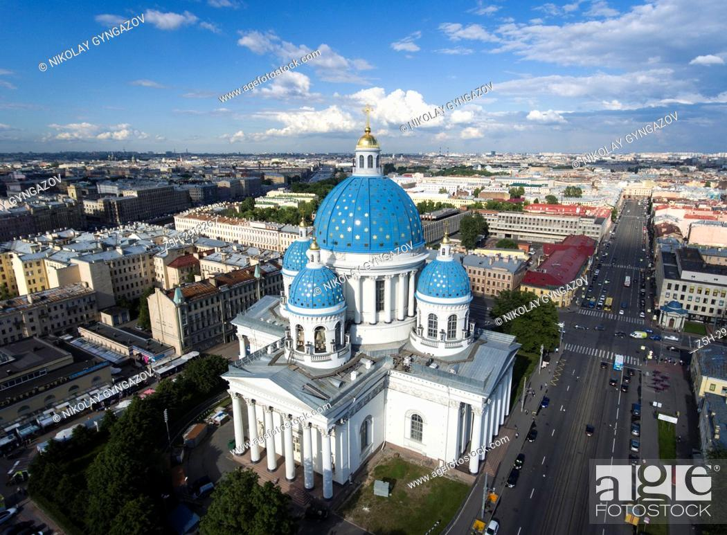Stock Photo: Troitsky cathedral from the height of the bird's flight. Saint Petersburg. Russia. .