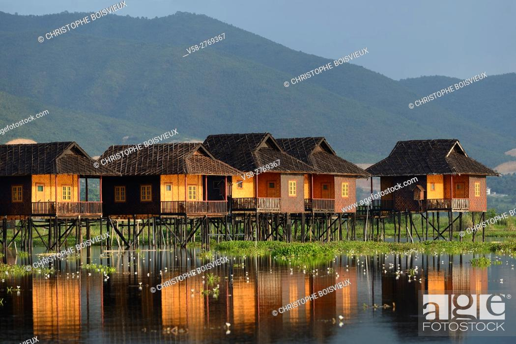 Stock Photo: Myanmar, Shan State, Inle Lake, Golden Island Cottages II hotel.