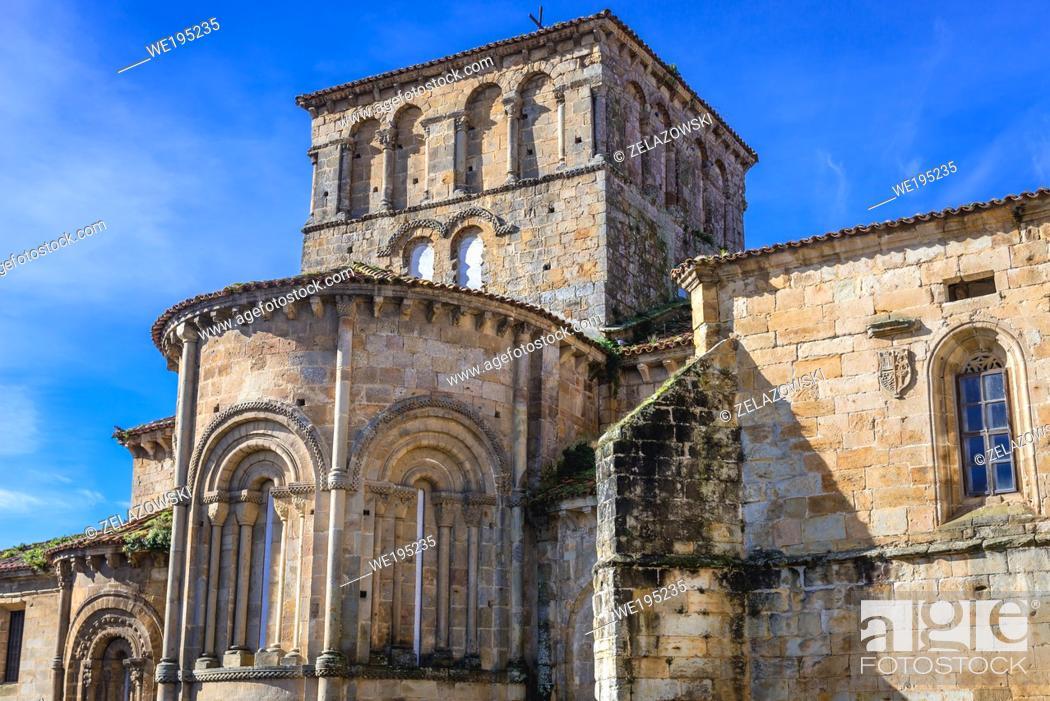 Stock Photo: Romanesque collegiate church and cloister of Santa Juliana in Santillana del Mar town located in Cantabria, Spain - view from Plaza las Arenas.