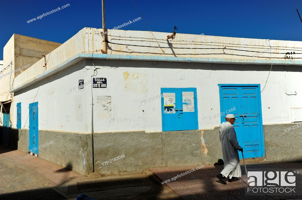 Stock Photo: In the city center many streets still bear the name of Spanish colonial era . Sidi Ifni. Morocco .North Africa.