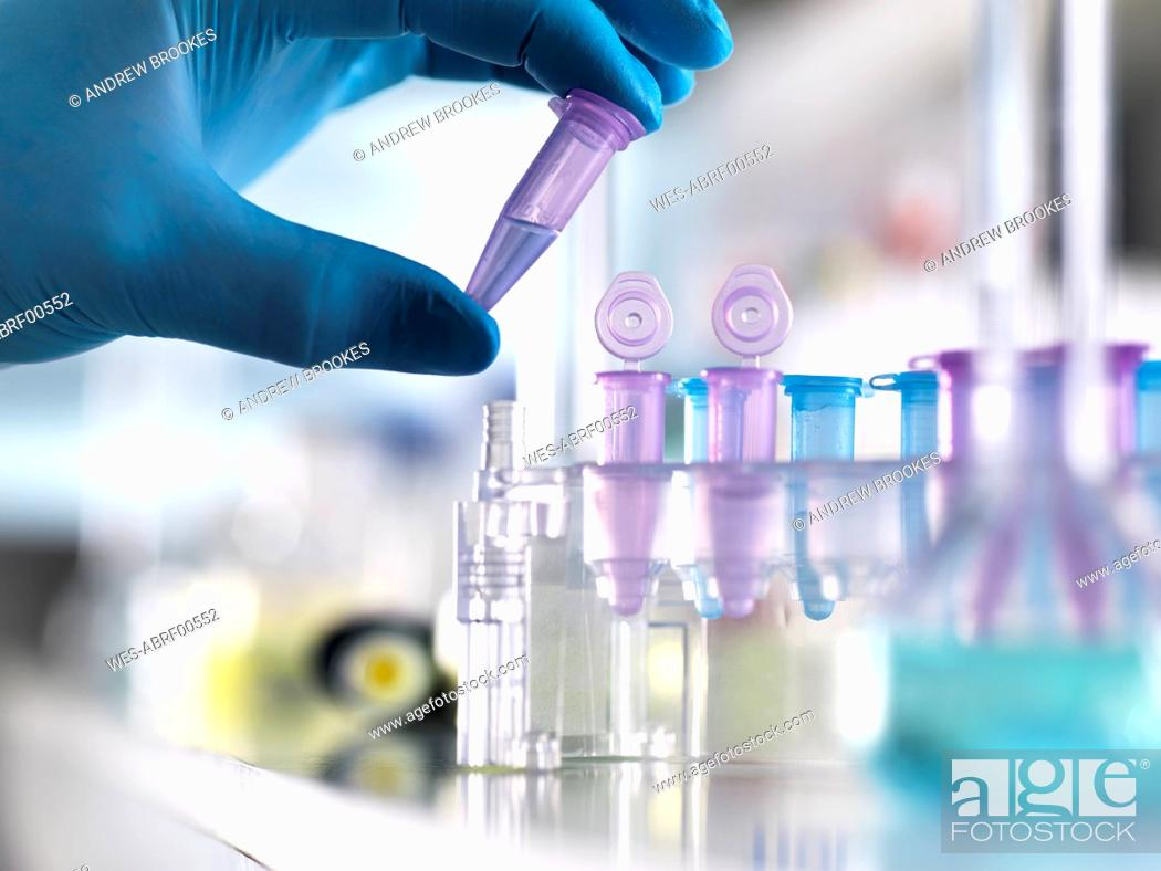 Stock Photo: Cropped hand of male scientist holding DNA samples in vial at laboratory.