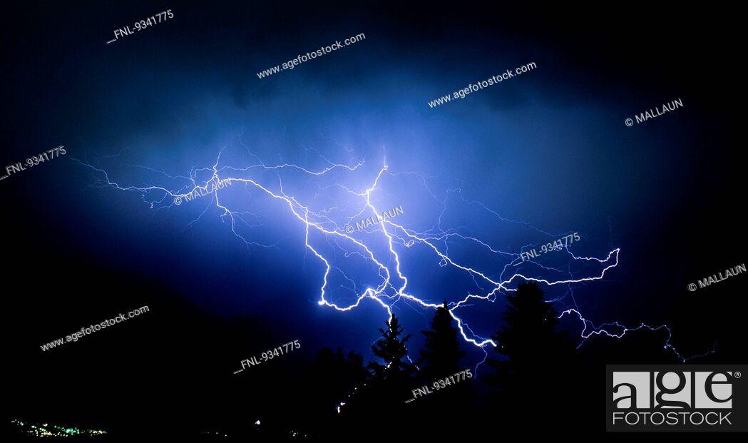 Stock Photo: Thunder storm with lightnings, Tyrol, Austria, Europe.