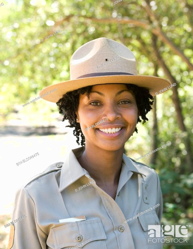 Stock Photo: Close up of African American female Park Ranger.