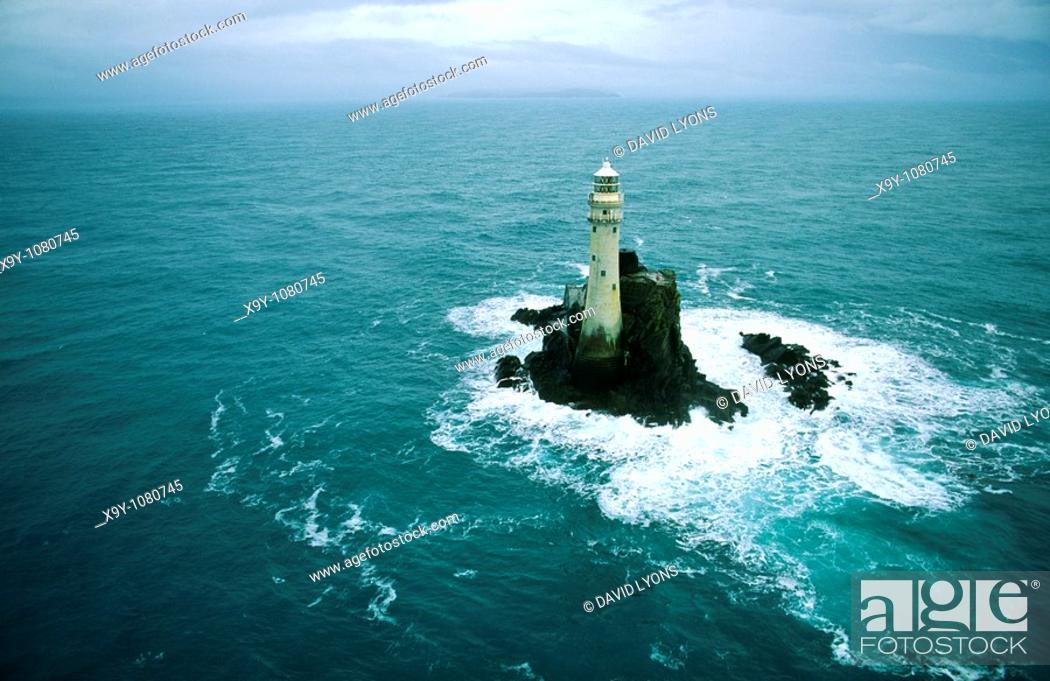 Stock Photo: The Fastnet Rock Light Lighthouse off the Atlantic coast of County Cork, south west Ireland.