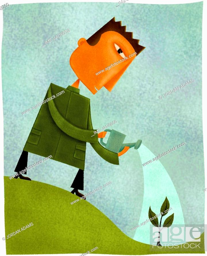 Stock Photo: A man watering a small plant.
