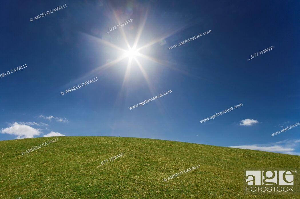 Imagen: Shining sun in a blue sky over green grass.