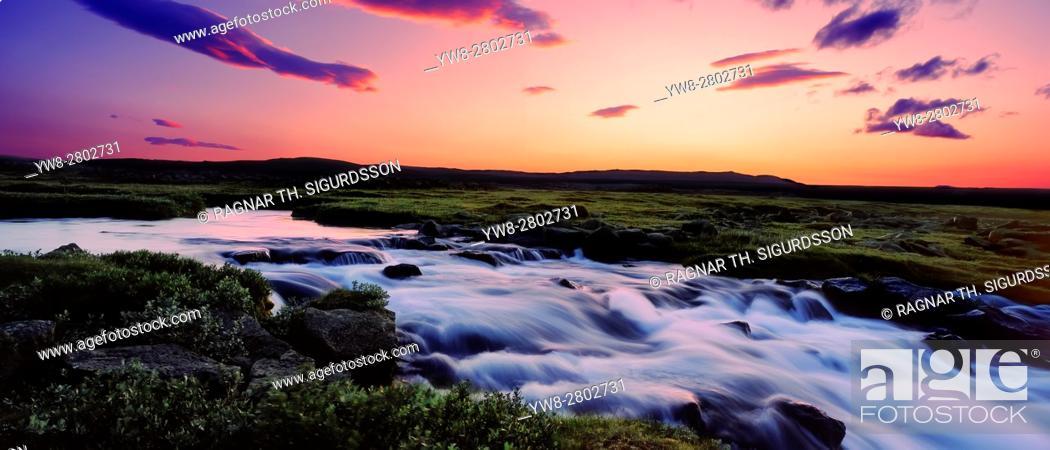 Stock Photo: Gaski waterfall, Grafarlandaa river, Central Highlands, Iceland.
