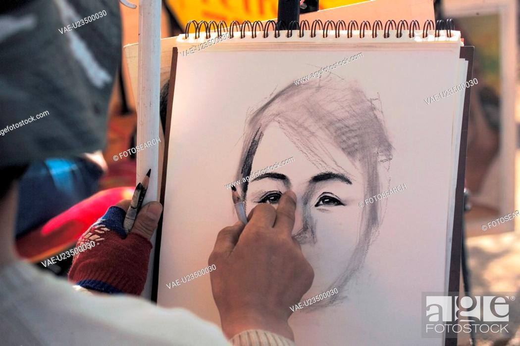 Stock Photo: sketch, drawing, portrait, artist, scatch, sketchbook, art.