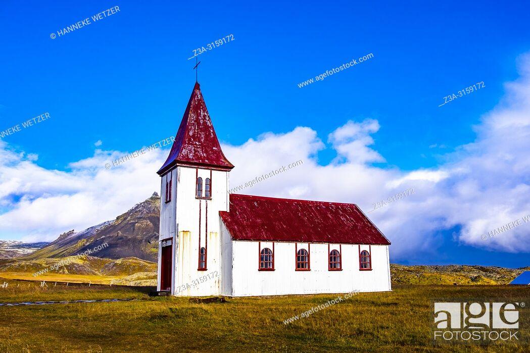 Stock Photo: Small coastal church in Hellnar, Snaefellsnes peninsula, Iceland.