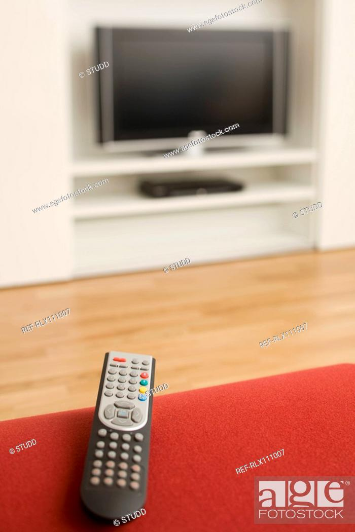 Stock Photo: Close up of TV remote control.