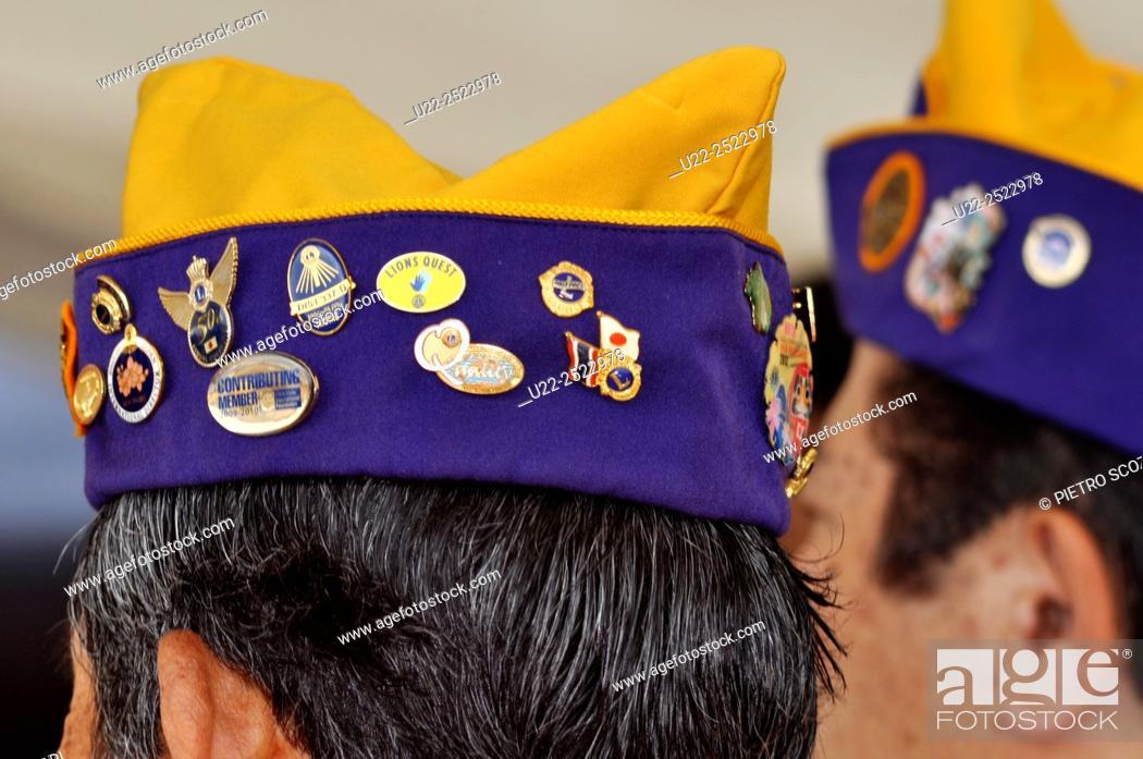 Naha, Okinawa, Japan: Lions Club hats at the Haarii Dragon Boat