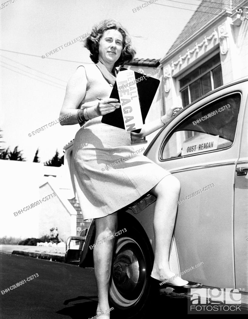 Stock Photo: RECALL REAGAN Activist Nancy L. Parr holds a petition seeking the recall of Gov. Ronald Reagan. July 10, 1967. She thinks Gov.