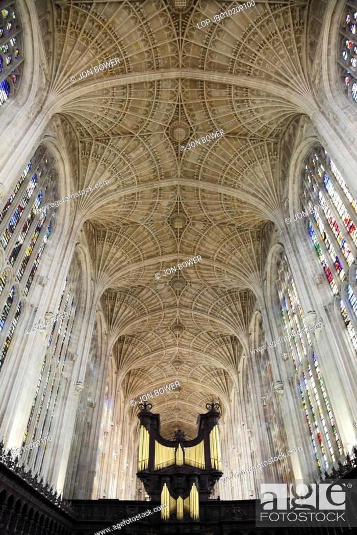 Stock Photo: England, Cambridgeshire, Cambridge, Interior of King's College Chapel, Cambridge. The foundation stone of the Chapel was laid on the feast of St James.