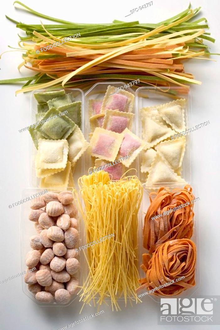 Stock Photo: Various types of coloured pasta.