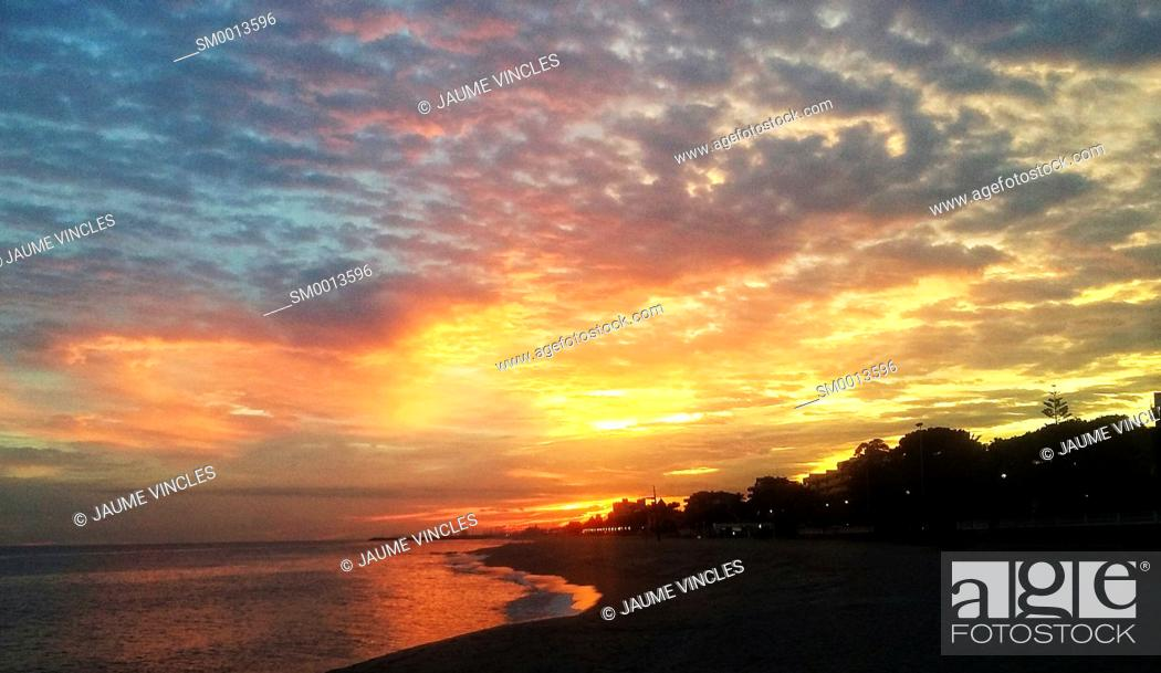 Stock Photo: Sunset. Maresme, Barcelona province, Catalonia, Spain.