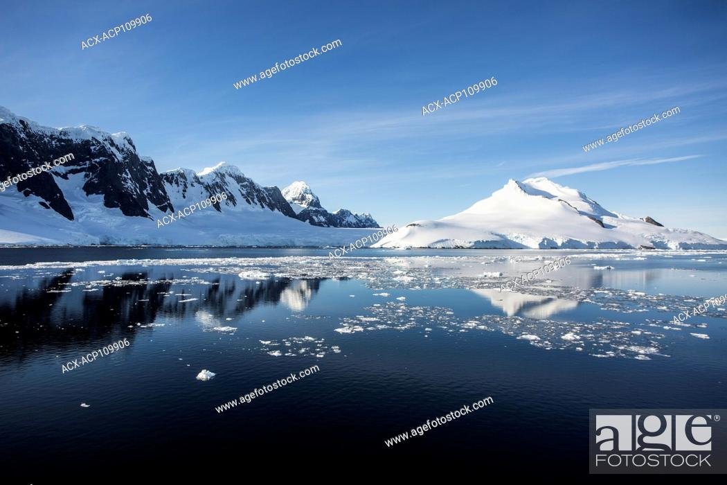 Imagen: Brash Ice floats in the calm waters of the Gerlache Strait, Antarctic Peninsula.