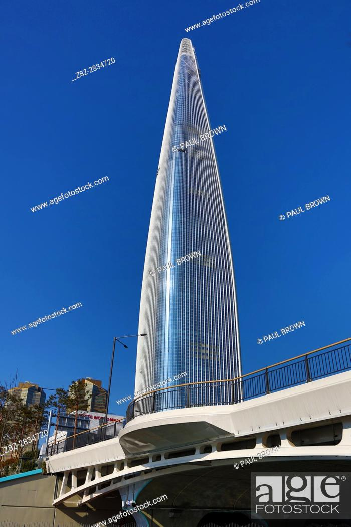 Stock Photo: Lotte World Tower skyscraper in Jamsil, Seoul, Korea.