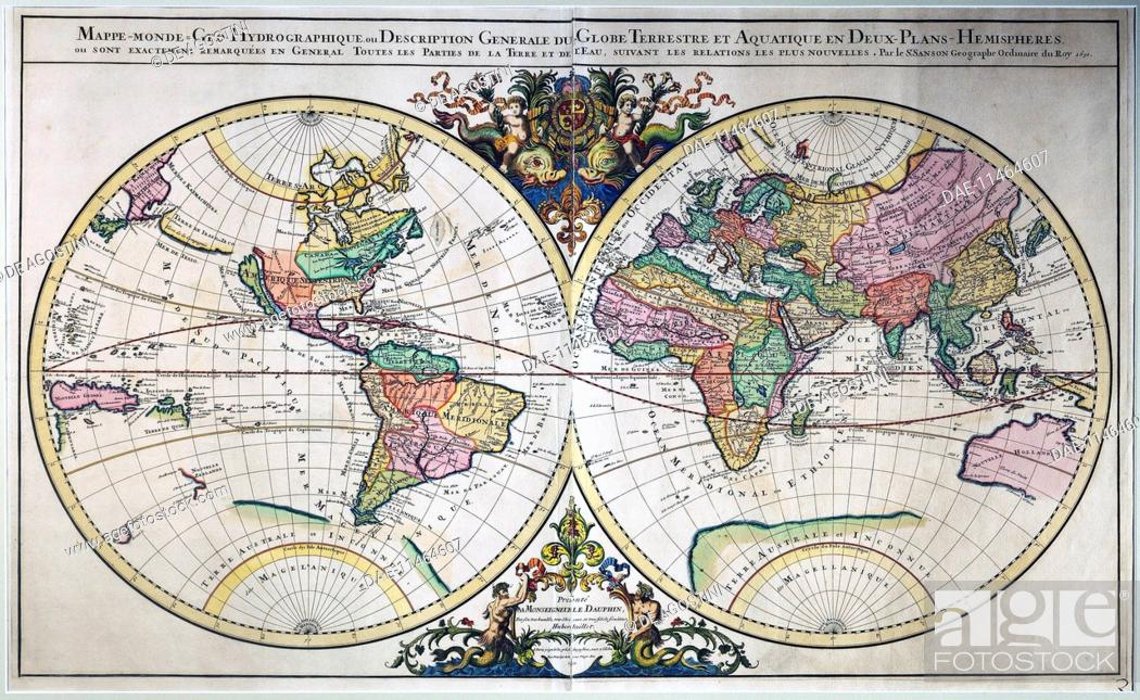 Illustrated double hemisphere world map 1692 engraving from the stock photo illustrated double hemisphere world map 1692 engraving from the atlas nouveau by alexis hubert jaillot 1632 1712 from maps by nicolas gumiabroncs Choice Image