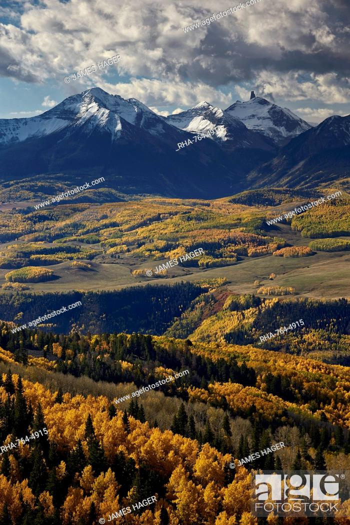 Stock Photo: Lizard Head and yellow aspens in the fall, Uncompahgre National Forest, Colorado, United States of America, North America.