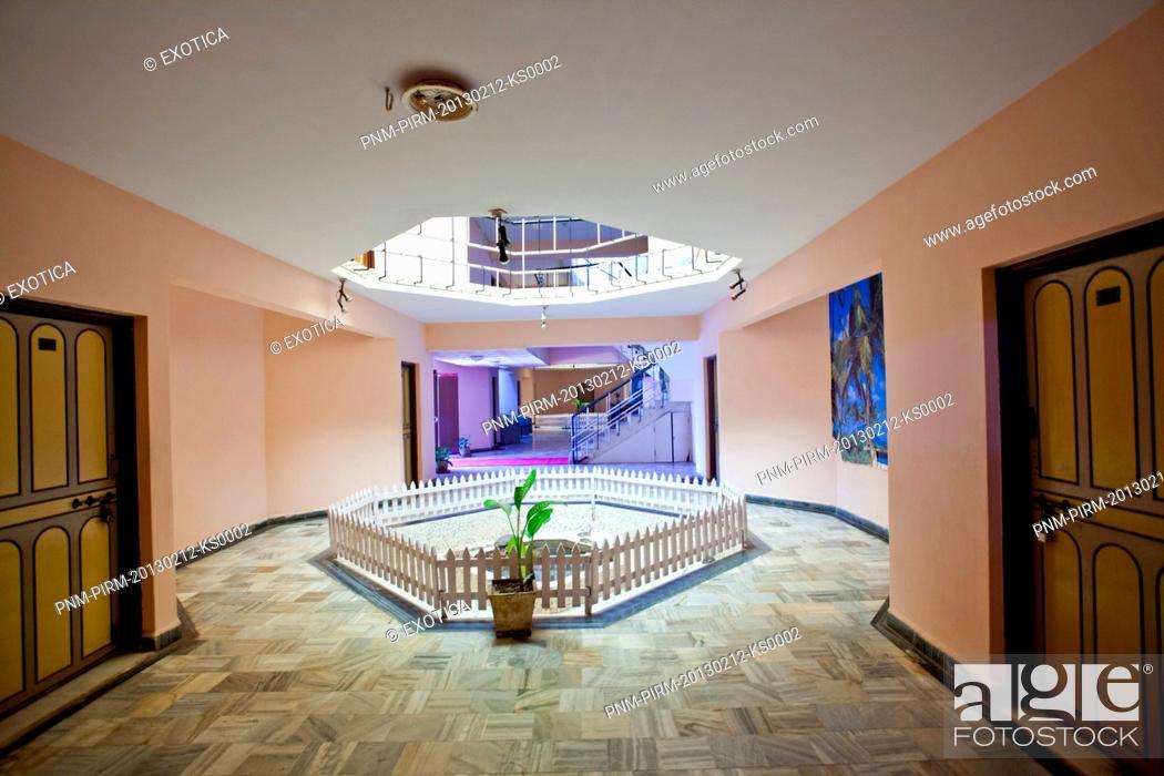 Stock Photo: Hallway at a spa, Arya Ayurvedics & Spa, Colva, South Goa, Goa, India.