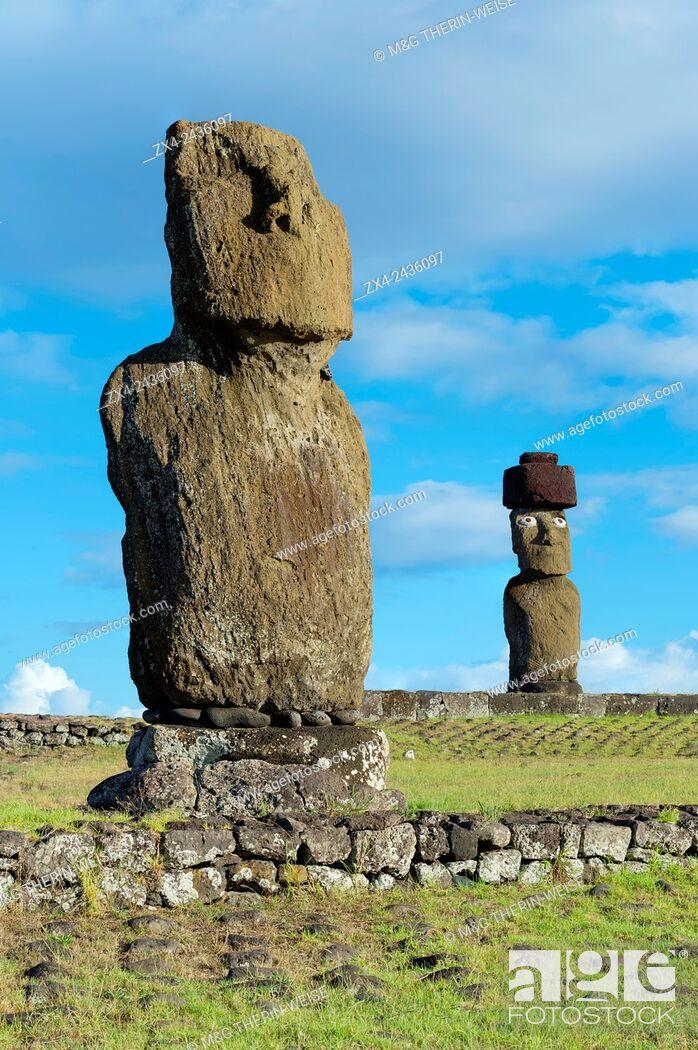 Stock Photo: Moais at Tahai ceremonial complex, Hanga Roa, Rapa Nui National Park, Easter Island, Chile, Unesco World Heritage.