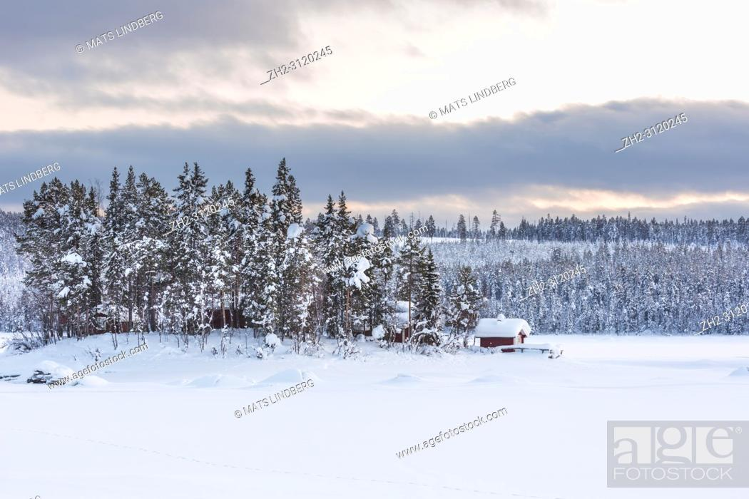 Stock Photo: Winter landscape with old barns in forest with snowy spruce trees and small mountain in background, Jokkmokk county, Swedish Lapland, Sweden.
