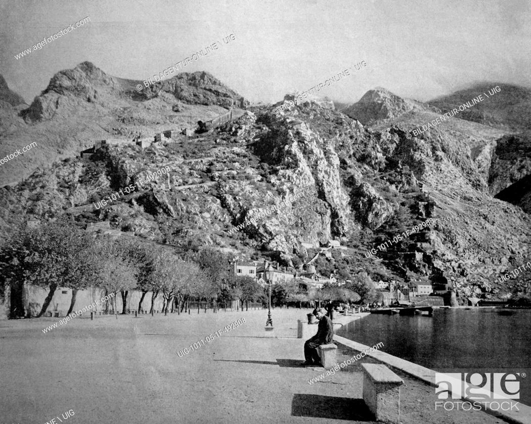 Imagen: One of the first autotypes of cattaro, kotor, formerly austria, now montenegro, historical photograph, 1884.