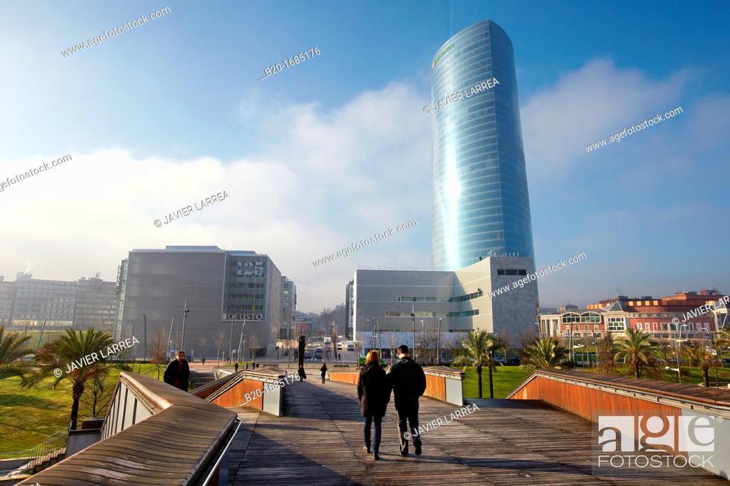 Stock Photo: Iberdrola Tower, Padre Arrupe Bridge, Abandoibarra, Bilbao, Bizkaia, Basque Country, Spain.